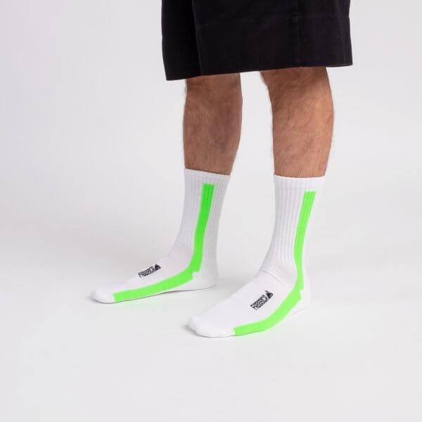 calza-bianca-riga-verticale-verde